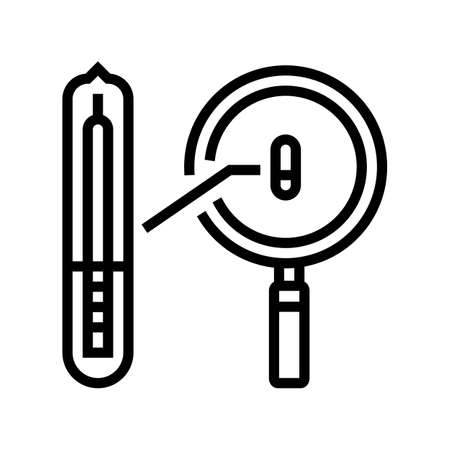 reseaching rfid chip line icon vector. reseaching rfid chip sign. isolated contour symbol black illustration