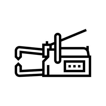 non-consumable electrode welding line icon vector. non-consumable electrode welding sign. isolated contour symbol black illustration