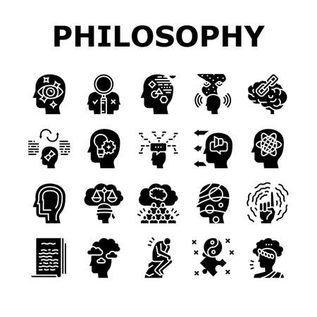 Philosophy Science Collection Icons Set Vector. Social Philosophy And Logic, Aesthetics And Ethics, Metaphilosophy And Epistemology Glyph Pictograms Black Illustrations
