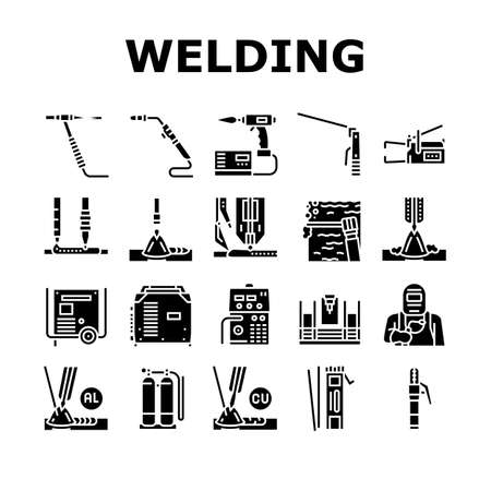 Welding Machine Tool Collection Icons Set Vector. Welding Equipment And Electrodes, Manual Arc And Plasma, Electroslag And Spot Glyph Pictograms Black Illustrations Ilustrace