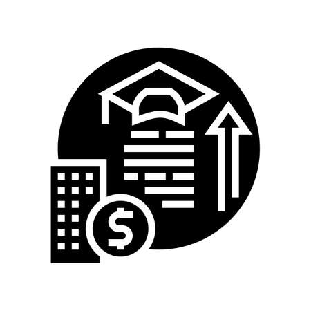 training and courses benefits glyph icon vector. training and courses benefits sign. isolated contour symbol black illustration Ilustrace