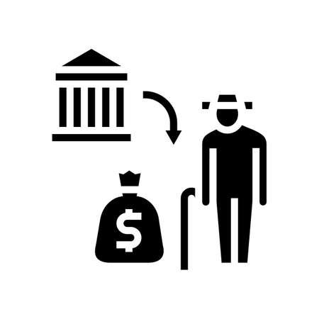 pension benefits glyph icon vector. pension benefits sign. isolated contour symbol black illustration Ilustrace