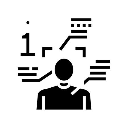 person information and identification glyph icon vector. person information and identification sign. isolated contour symbol black illustration Ilustrace