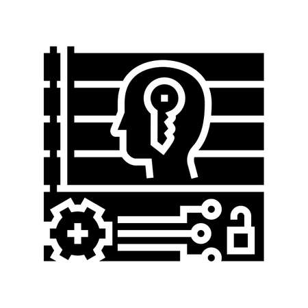 technology face id for access device glyph icon vector. technology face id for access device sign. isolated contour symbol black illustration Ilustrace