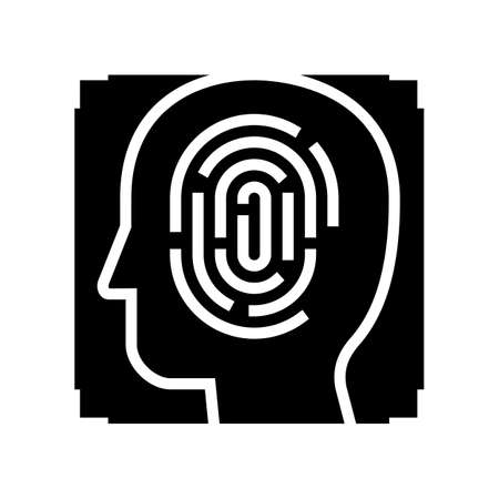 finger print and face id glyph icon vector. finger print and face id sign. isolated contour symbol black illustration Ilustrace