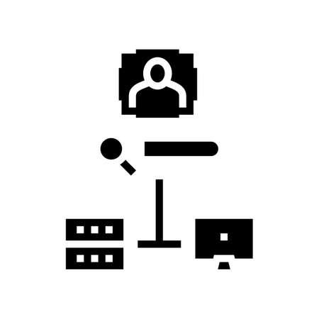 server data base for storage face, online face id app glyph icon vector. server data base for storage face, online face id app sign. isolated contour symbol black illustration