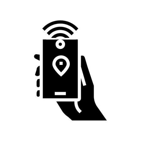 smartphone with rfid nfc technology glyph icon vector. smartphone with rfid nfc technology sign. isolated contour symbol black illustration