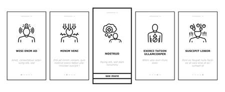 Psychological Problems Onboarding Mobile App Page Screen Vector. Depression And Bipolar Disorder, Schizophrenia And Dementia, Autism And Stress Problems Illustrations