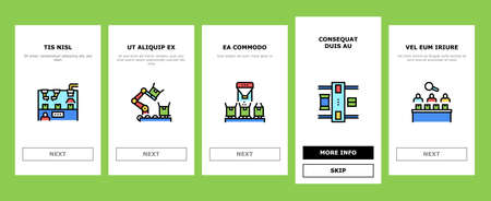 Industrial Process Onboarding Mobile App Page Screen Vector. Industrial Production And Manufacturing, Creative Command Department And Meeting, Conveyor And Delivery Illustrations
