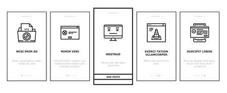 Not Found Web Page Onboarding Mobile App Page Screen Vector. 404 Error And Not Found Internet Site, Lost Wire And Wireless Wifi Connection Illustrations