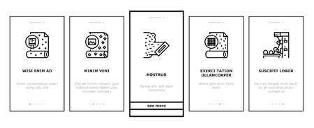 Wallpaper Interior Onboarding Mobile App Page Screen Vector. Waterproof And Paper, Vinyl And Non-woven, Textile And Velor Wallpaper Rolls, Production Illustrations Vecteurs