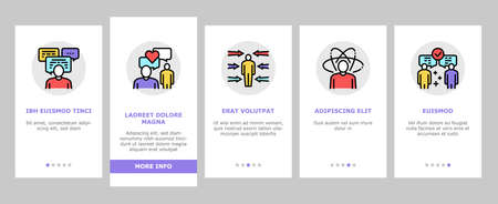 Soft Skills People Onboarding Mobile App Page Screen Vector. Creativity And Decision Making, Understanding Body Language And Learning, Soft Skills Illustrations Ilustracje wektorowe