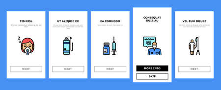 Anesthesiologist Tool Onboarding Mobile App Page Screen Vector. Syringe Pump, Anesthesia Machine And Heart Rate Monitor Anesthesiologist Equipment Illustrations