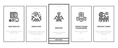 Pr Public Relations Onboarding Mobile App Page Screen Vector. Pr Strategy And Events, Interview And Press Release, Meeting And Responses To Media Inquiries Illustrations Vettoriali