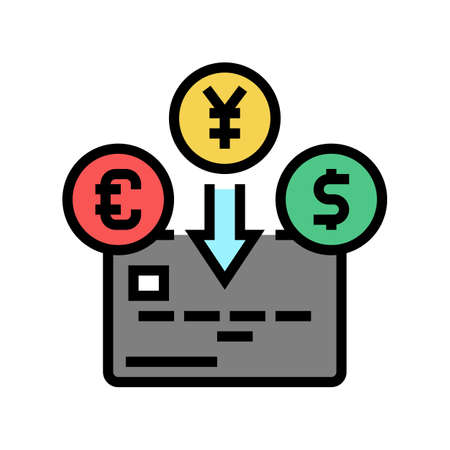 currency card color icon vector. currency card sign. isolated symbol illustration