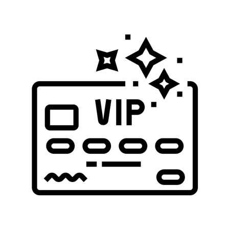 vip premium line card line icon vector. vip premium line card sign. isolated contour symbol black illustration
