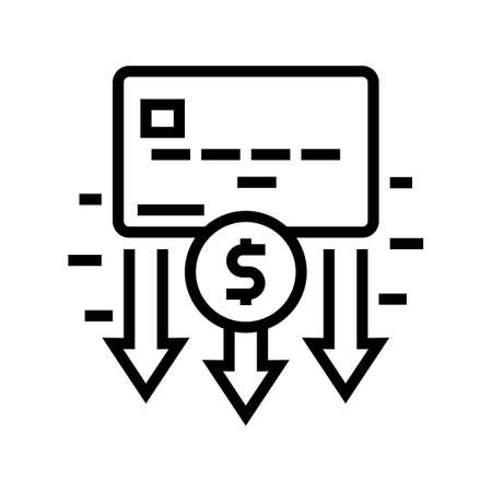 withdrawal of funds card line icon vector. withdrawal of funds card sign. isolated contour symbol black illustration