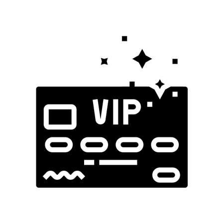 vip premium line card glyph icon vector. vip premium line card sign. isolated contour symbol black illustration