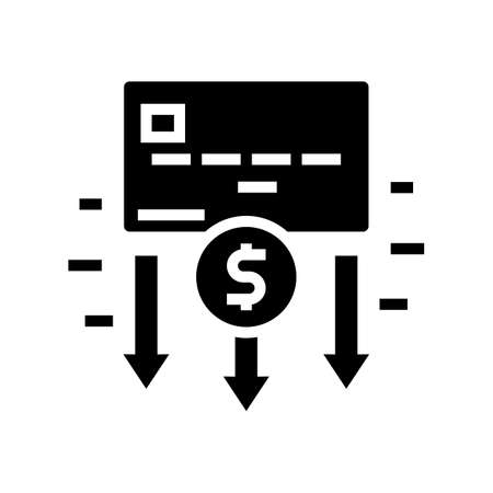 withdrawal of funds card glyph icon vector. withdrawal of funds card sign. isolated contour symbol black illustration