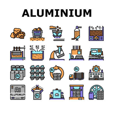 Aluminium Production Collection Icons Set Vector. Processing Of Aluminium Production And Factory, Pressing And Manufacture, Transportation And Carrying Concept Linear Pictograms. Contour Illustrations