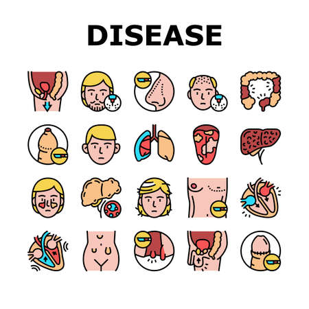 Disease Human Organ Collection Icons Set Vector. Colitis And Breast Gynecomastia, Hemorrhoids And Glossitis, Cryptorchidism And Systole Disease Concept Linear Pictograms. Contour Illustrations