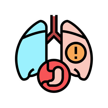 lung or breathing problems color icon vector. lung or breathing problems sign. isolated symbol illustration