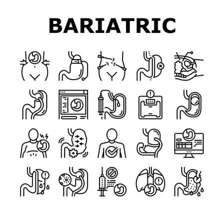 Bariatric Surgery Collection Icons Set Vector. Excess Weight And Risk Of Complications, Severe Bleeding And Result Of Bariatric, Lung Or Breath Problem Black Contour Illustrations