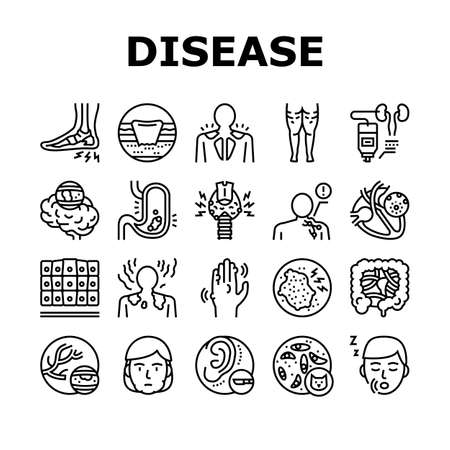 Disease Human Problem Collection Icons Set Vector. Epithelial Tissue And Toxoplasmosis, Ear Surgery And Cellulite, Skin Itch And Lymphoma Disease Black Contour Illustrations Vektorové ilustrace