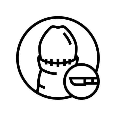 circumcised penis disease line icon vector. circumcised penis disease sign. isolated contour symbol black illustration