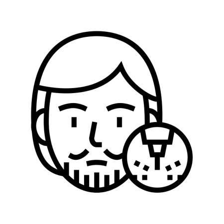male mustache and beard removal line icon vector. male mustache and beard removal sign. isolated contour symbol black illustration