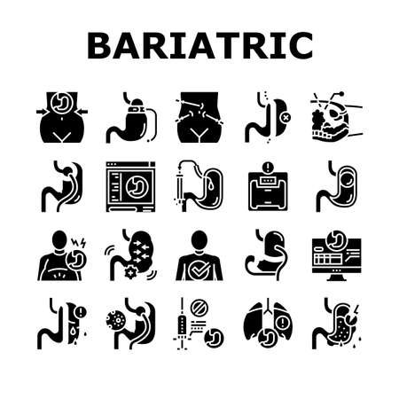 Bariatric Surgery Collection Icons Set Vector. Excess Weight And Risk Of Complications, Severe Bleeding And Result Of Bariatric, Lung Or Breath Problem Glyph Pictograms Black Illustrations