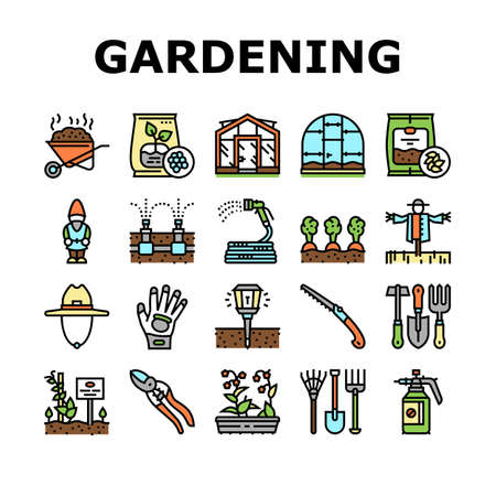 Gardening Equipment Collection Icons Set Vector. Glass And Polycarbonate Greenhouse Construction, Gardening Tool And Instrument Concept Linear Pictograms. Harvest Contour Illustrations