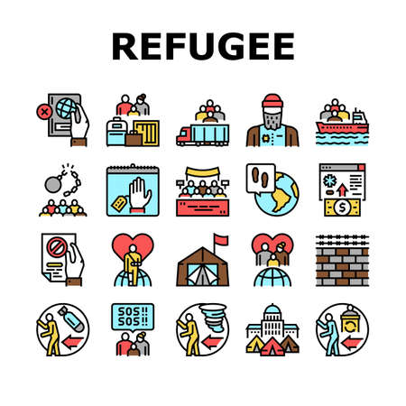 Refugee From Problem Collection Icons Set Vector. Man And Family Refugee Escape From War And Hurricane, Worldwide Donation And Help, Concept Linear Pictograms. Contour Illustrations