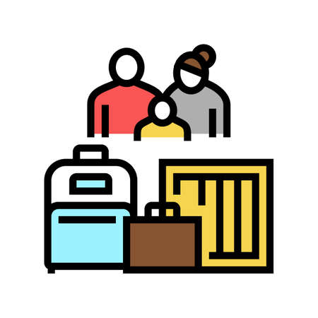 family refugee with luggage color icon vector. family refugee with luggage sign. isolated symbol illustration