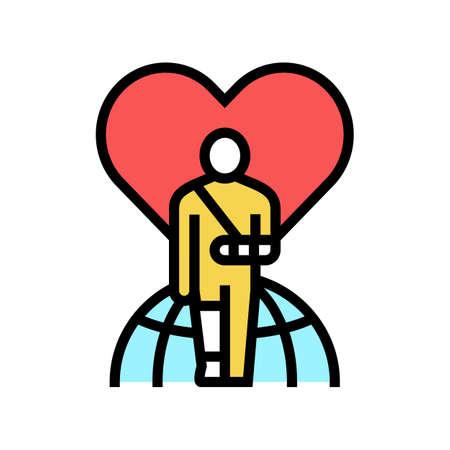 invalid patient refugee world help color icon vector. invalid patient refugee world help sign. isolated symbol illustration