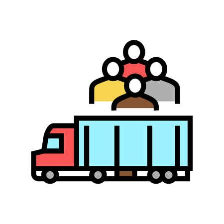 truck transportation refugee color icon vector. truck transportation refugee sign. isolated symbol illustration