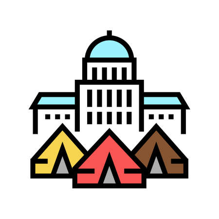 government building refugee campground color icon vector. government building refugee campground sign. isolated symbol illustration