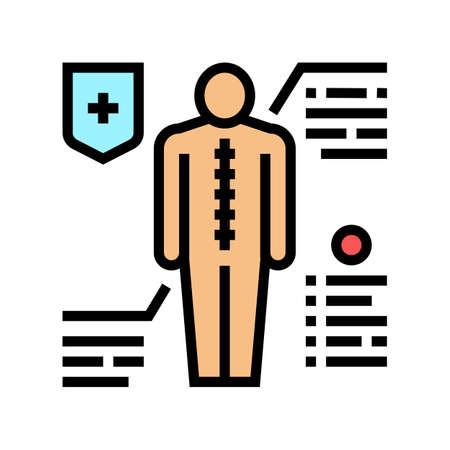 prevention scoliosis color icon vector. prevention scoliosis sign. isolated symbol illustration Vektoros illusztráció