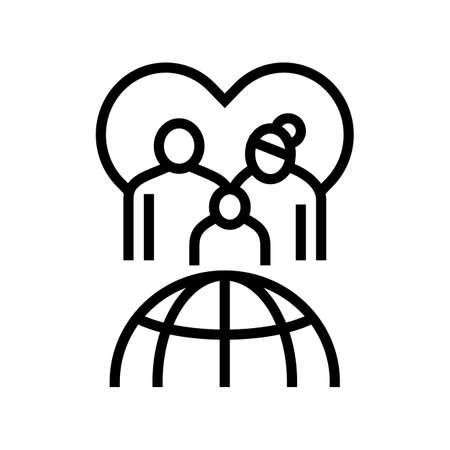 family refugee world aid line icon vector. family refugee world aid sign. isolated contour symbol black illustration