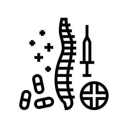 treatment scoliosis line icon vector. treatment scoliosis sign. isolated contour symbol black illustration Vektoros illusztráció