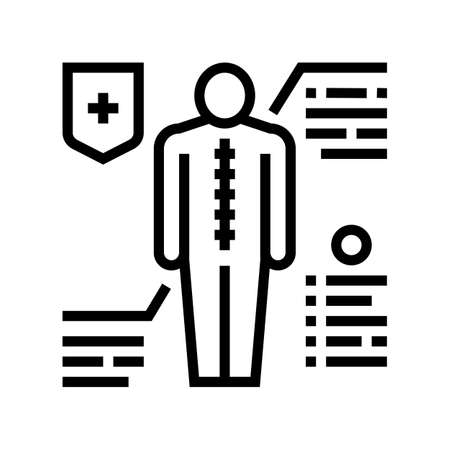 prevention scoliosis line icon vector. prevention scoliosis sign. isolated contour symbol black illustration