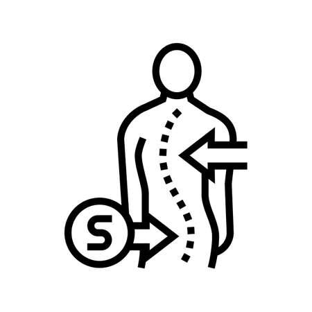 s-shaped scoliosis line icon vector. s-shaped scoliosis sign. isolated contour symbol black illustration Vektoros illusztráció