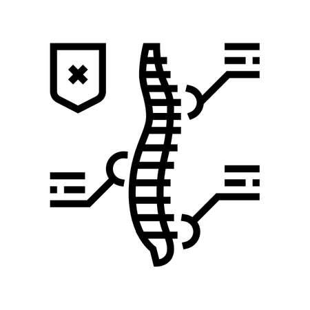 symptoms scoliosis line icon vector. symptoms scoliosis sign. isolated contour symbol black illustration