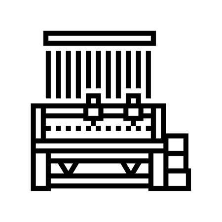 silk production machine line icon vector. silk production machine sign. isolated contour symbol black illustration