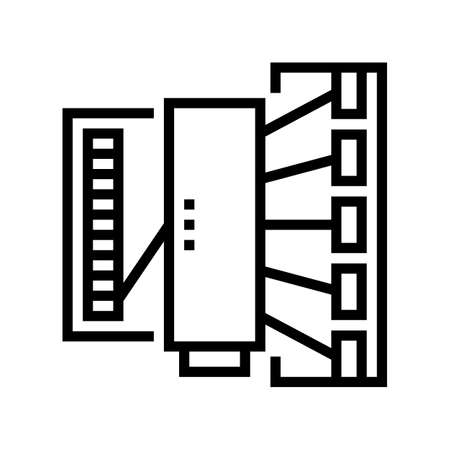 silk thread production industry machine line icon vector. silk thread production industry machine sign. isolated contour symbol black illustration
