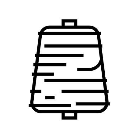 thread roll textile line icon vector. thread roll textile sign. isolated contour symbol black illustration