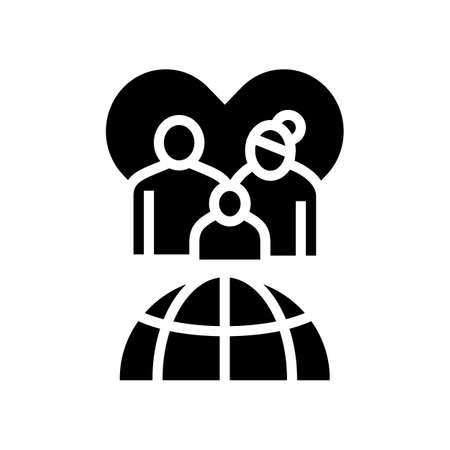 family refugee world aid glyph icon vector. family refugee world aid sign. isolated contour symbol black illustration