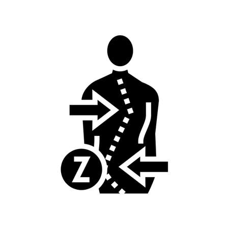 z-shaped scoliosis glyph icon vector. z-shaped scoliosis sign. isolated contour symbol black illustration