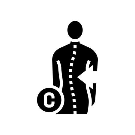 c-shaped scoliosis glyph icon vector. c-shaped scoliosis sign. isolated contour symbol black illustration Vector Illustration