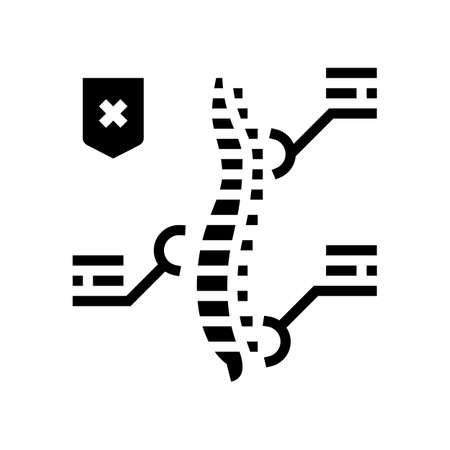 symptoms scoliosis glyph icon vector. symptoms scoliosis sign. isolated contour symbol black illustration